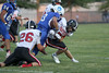 Danville's Wade Samples (#3) and Pekin's Tyler Copeland (#26) and Chase Eckley (#7)