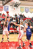 Danville's Carlee Kelly (#3), Allison Becker (#13) and Cardinal's Jessie McElderry (#24) and Delaney Ridgway (#30)