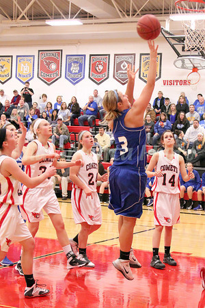 Danville's Carlee Kelly (#3) and Cardinal's Lexi Fullenkamp (#20), Delaney Ridgway (#30), Jessie McElderry (#24) and Schylar Conger (#14)