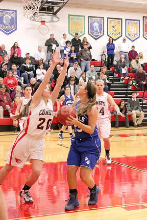 Danville's Allie Boyer (#23) and Cardinal's Lexi Fullenkamp (#20) and Jessie McElderry (#24)