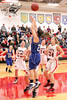 Danville's Emily Cameron (#33), Kinsey Petersen (#21) and Cardinal's Lexi Fullenkamp (#20), Jessie McElderry (#24) and Dakota Durflinger (#34)