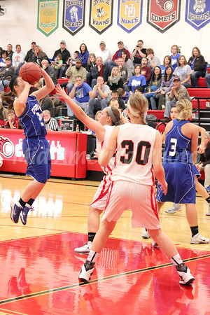 Danville's Kinsey Petersen (#21), Carlee Kelly (#3) and Cardinal's Jessie McElderry (#24) and Delaney Ridgway (#30)