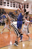 Danville's Kinsey Petersen (#21) and Fairfield's Karley Williams (#10) and Mackenzie Flattery (#20)