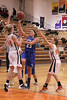 Danville's Allie Boyer (#23) and Fairfield's Hanna Greiner (#34) and Marisa Repp (#44)