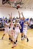 Danville's Carlee Kelly (#3) and Van Buren's Abby Rider (#34), Kaitlyn Johnson (#24), Shayla Filson (#22) and Sydney Atwood (#3)
