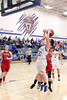 Danville's Kinsey Petersen (#20), Gabbie Grothe (#0) and Harmony's Haley Browning (#13) and Tessa Story (#31)