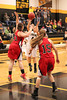 New London's Kristen Allen (#4) and Harmony's Haley Browning (#13) and Michelle Lunsford (#15)