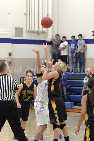 Danville's Gabbie Grothe (#0) and New London's Addie Lounsbury (#23) and Morgan Christner (#10)