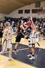 New London's Samantha Koontz (#3) and Notre Dame's Kori Mesecher (#10) and Taylor Hickey (#32)