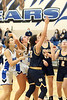 Danville's Rylee Morris, Drew Fox (55) and Notre Dame's Shelby Bowman (32), Abby Korschgen, and Maddy Mosena wait for a rebound which never happens. The ball shot by Drew Fox settled on the back of the rim next to the backboard.