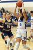 Notre Dame's Lauren Krieger (15) and Danville's Hailey Parrott (15)