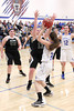 Danville's Emily Cameron (#32), Allison Becker (#12) and West Burlington's Shaelyn Thomann (#55), Aubrey Schmitt (#21) and Nicole Nichols (#13)
