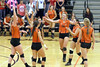 Mediapolis teammates, left to right, Kendra Witte (15), Sarah Vorwerk (1), Brianna Eberhart (2), Kara Brown (14), Kilie Akers (5), and Helena Hillyard (8) celebrate their victory against Danville October 24th during a Class 2A Region 8 Quarterfinal in Mediapolis.<br /> Photo by Donald K. Aliprandi