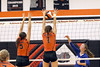 Donald K. Aliprandi/The Hawk Eye<br /> Sarah Vorwerk (1) of Mediapolis with Kilie Akers (5) block a hit by Danville's Bailey Beckman (27) in the Class 2A Region 8 Quarterfinal match at Mediapolis.