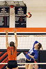 Danville's Stella Cady (55) spikes the ball over Mediapolis' Sarah Vorwerk during a Class 2A Region 8 Quarterfinal in Mediapolis October 24, 2016.<br /> Photo by Donald K. Aliprandi
