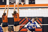 Mediapolis' Kilie Akers (5), Sarah Conrad (12) and Danville's Bailey Beckman (27)