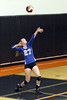 Danville's Bailey Beckman (27) keeps her eyes and concentration on her serve during a Class 2A Region 8 Quarterfinal in Mediapolis October 24, 2016.<br /> Photo by Donald K. Aliprandi
