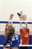 Danville's Bailey Beckman (27) and Van Buren's Grace Davidson (12) and Hannah Hudson (32)