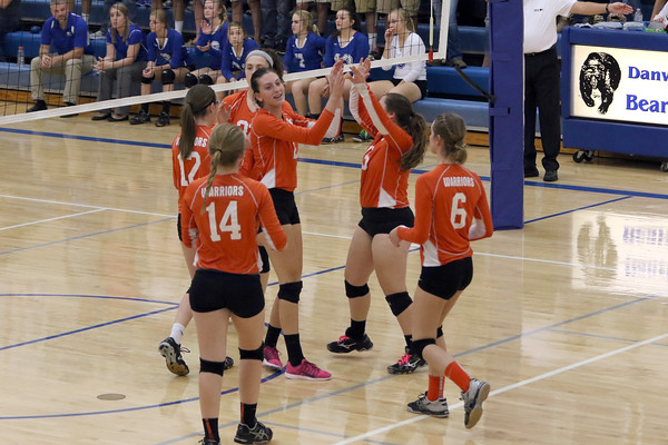 The Van Buren team celebrates a point during the match against Danville October 18th during the class 2A Region 8 Round 1 match at Danville.<br /> Photo by Donald K. Aliprandi