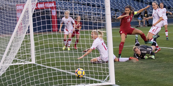 Alex Morgan (13) scores a goal during the US Women's Soccer Team 5-1 victory over Denmark in an International Friendly at SDCCU Stadium in San Diego, CA on Sunday, Jan. 21, 2018.