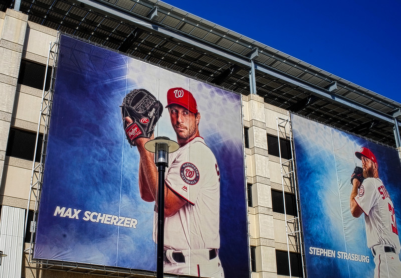 WASHINGTON, DC - SEPTEMBER 22:  Mural of Washington Nationals player Max Scherzer and Stephen Strasburg during a MLB game between the Washington Nationals and the Philadelphia Phillies on September 22, 2020, at Nationals Park, in Washington DC.