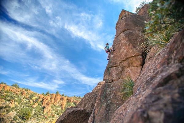 Rachel Berger climbing in Arizona