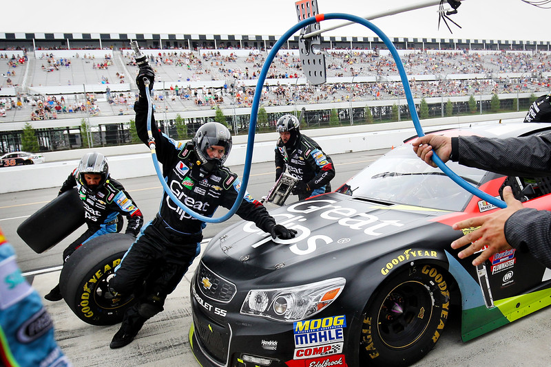 Kasey Kahne, driver of the #5 Great Clips Chevrolet, pits during the NASCAR Sprint Cup Series Pennsylvania 400 at Pocono Raceway on August 1, 2016 in Long Pond, Pennsylvania. The race was delayed due to inclement weather on Sunday, July 31.