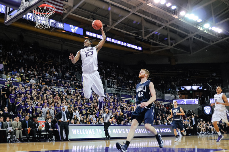 Junior C.J. Wilcox breaks away to dunk during Washington's 88-78 win.