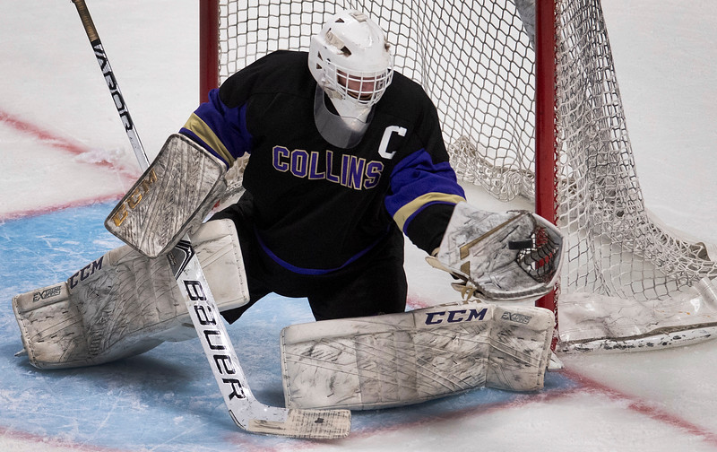 Fort Collins' Sam Simon (33) makes the save against Valor Christian during the first period of Colorado's state championship game at Pepsi Center in Denver, Colo. on Tuesday, March 10, 2020.