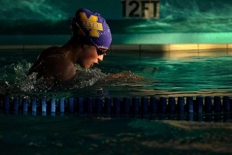Marshfield's Sydney Trendell competes during the 26th annual North Bend swimming invitational at the North Bend Municipal Pool in North Bend, Ore. on Saturday, Dec. 9, 2017.