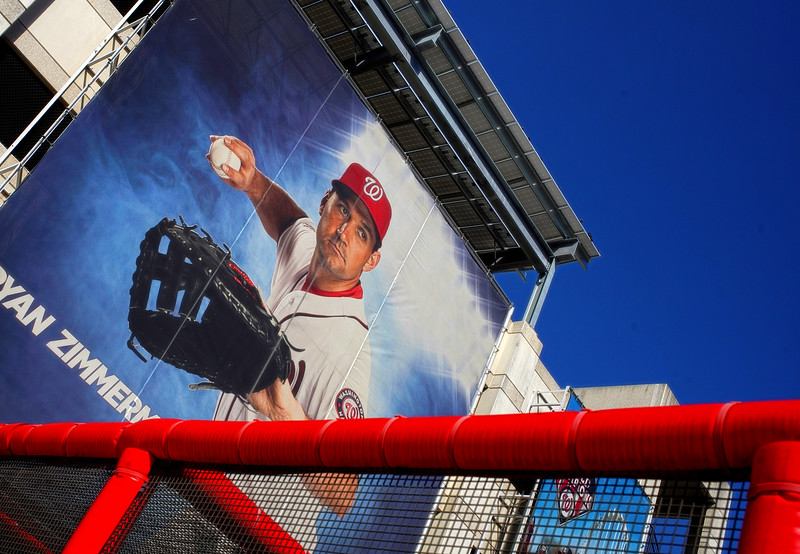 WASHINGTON, DC - SEPTEMBER 22:  Mural of Washington Nationals player Ryan Zimmerman during a MLB game between the Washington Nationals and the Philadelphia Phillies on September 22, 2020, at Nationals Park, in Washington DC.