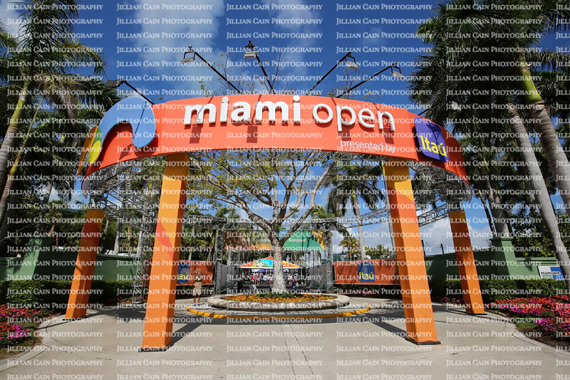 Entrance way to the Miami Open Tennis Tournament on the last day of play at this location.  The event moves to Miami Gardens next year.
