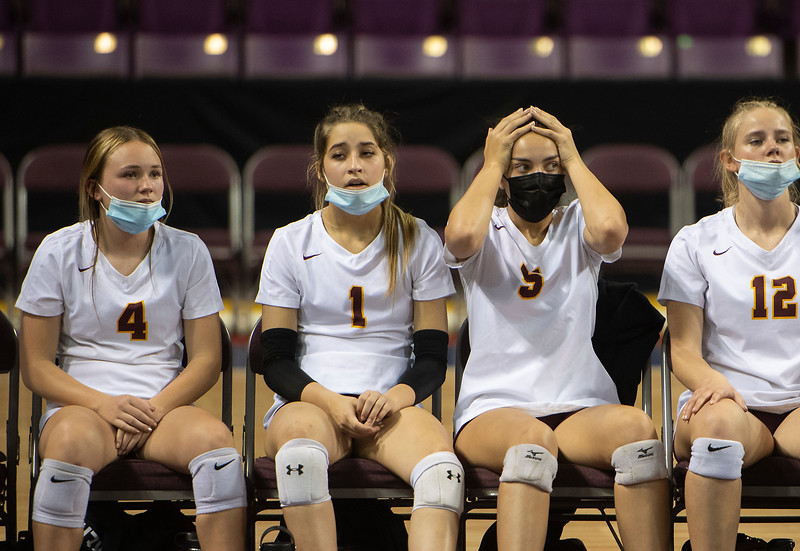 Windsor reacts from the bench in the fourth set of the semifinal game against Mead during the 4A state tournament at Broadmoor World Arena in Colorado Springs, Colo. on Thursday, May 13, 2021.