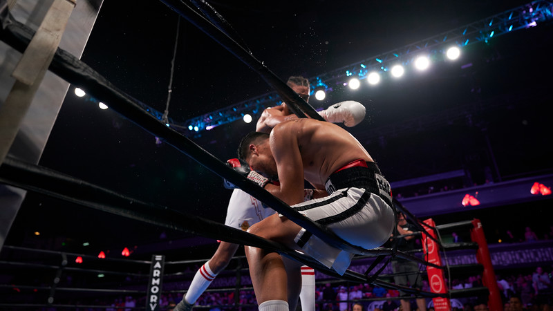 Jamal James boxes against Antonio DeMarco at The Armory in Minneapolis, Minnesota - July 13.  DeMarco took 238 hits over the course of 10 rounds before his opponent Jamal James was unanimously declared the winner.