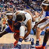 Penn State forward Talia East (5) and the University of Florida guard Jaterra Bonds (10) fight for the ball late in the second half of Penn State's 83-61 victory in the second round of the NCAA women's basketball championship on March 25, 2014.<br /> ©The Daily Collegian