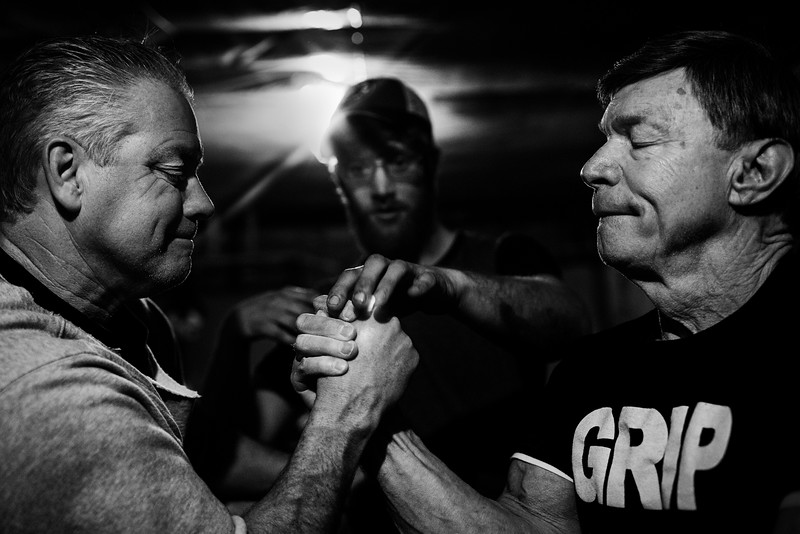 75-year-old Norm Devio (right) is a nationally ranked arm wrestling champion, seen here training with Walter Meehan in West Bridgewater, Mass. on March 3, 2016.