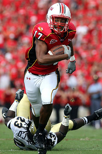 Maryland wide receiver Danny Oquendo breaks a tackle and runs down the field during the Terrapins' 28-26 victory over the Yellow Jackets at Byrd Stadium in College Park on Saturday, Oct. 06, 2007. Chris Ammann/Examiner
