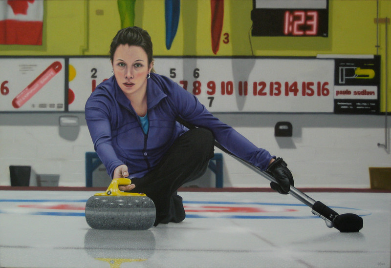 """Last Rock, 2012, Alkyd oil on canvas, 30"""" x 20""""<br /> This wonderful painting by David Fisher was based on a photograph I took for the Ontario Curling Association Zone 9's at the King Curling Club in 2011."""