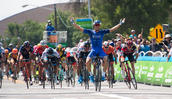 UnitedHealthcare Pro Cycling's Travis Mccabe celebrates after winning the first stage of the Tour of Utah in Cedar City Tuesday, August 7, 2018.