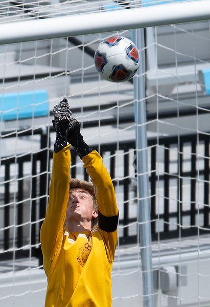 Windsor goalie Daniel Bouma (15) blocks a kick in the first half of the 4A boys soccer state championship at Weidner Field in Colorado Springs, Colo. on Saturday, May 1, 2021.