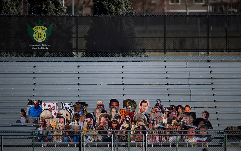 Cardboard cutouts fill an area in the otherwise empty bleachers at French Field at Rocky Mountain High School on Wednesday, Nov. 25, 2020.