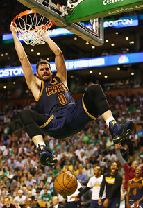 Kevin Love #0 of the Cleveland Cavaliers dunks the ball in the first half against the Boston Celtics during Game Two of the 2017 NBA Eastern Conference Finals at TD Garden on May 19, 2017 in Boston, Massachusetts.