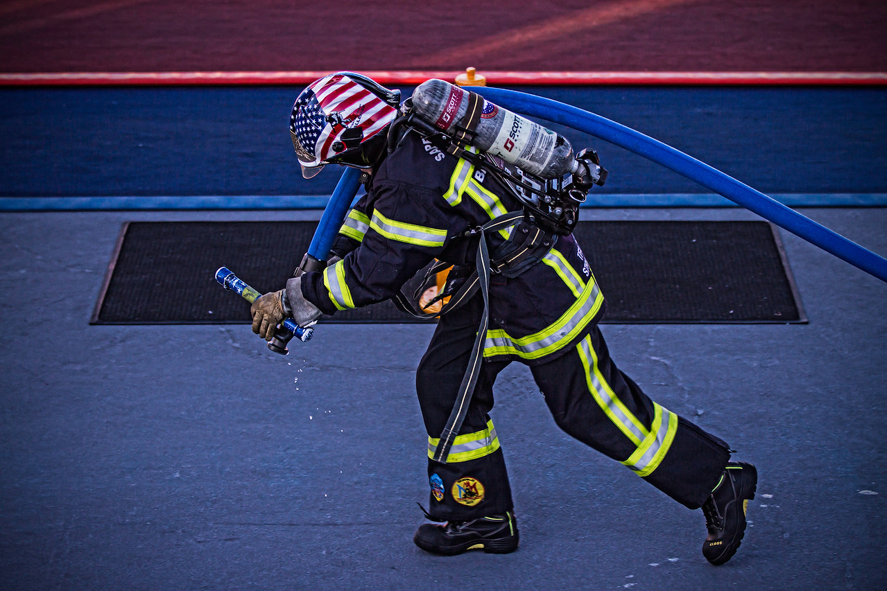 Athlete at the Scott Firefighter Combat Challege