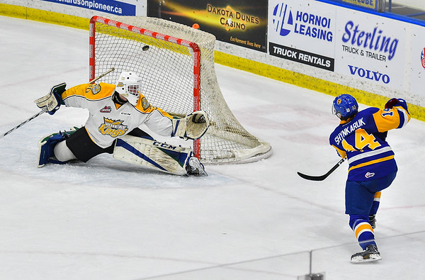 The Saskatoon Blades host the Brandon Wheat Kings at the Sask Tel Centre Saskatoon, Saskatchewan, Canada, February 11, 2017