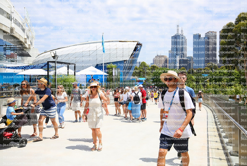 Melbourne, Australia - January 16, 2019: Large crowds of tennis enthusiast walk outside at the Australian Open. The AO is the first Grand Slam tennis tournament of the year.