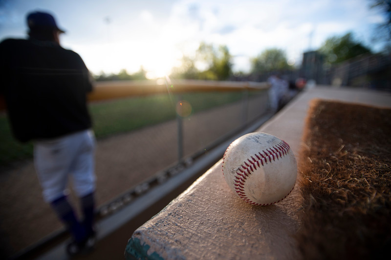 A baseball sits on a dugout during the game between Fort Collins and Rocky Mountain at Fort Collins City Park Baseball Field in Fort Collins, Colo. on Friday, May 28, 2021.