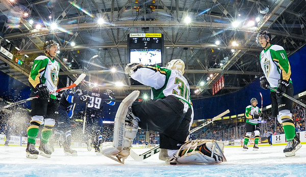 The Saskatoon Blades host the Prince Albert Raiders at the SaskTel Centre in Saskatoon, SK.October 11, 2014