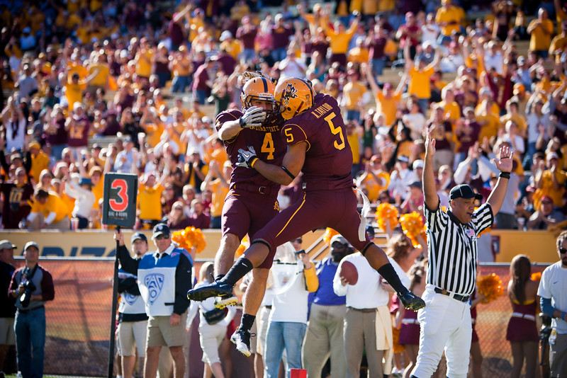 Arizona State players celebrate after a touchdown