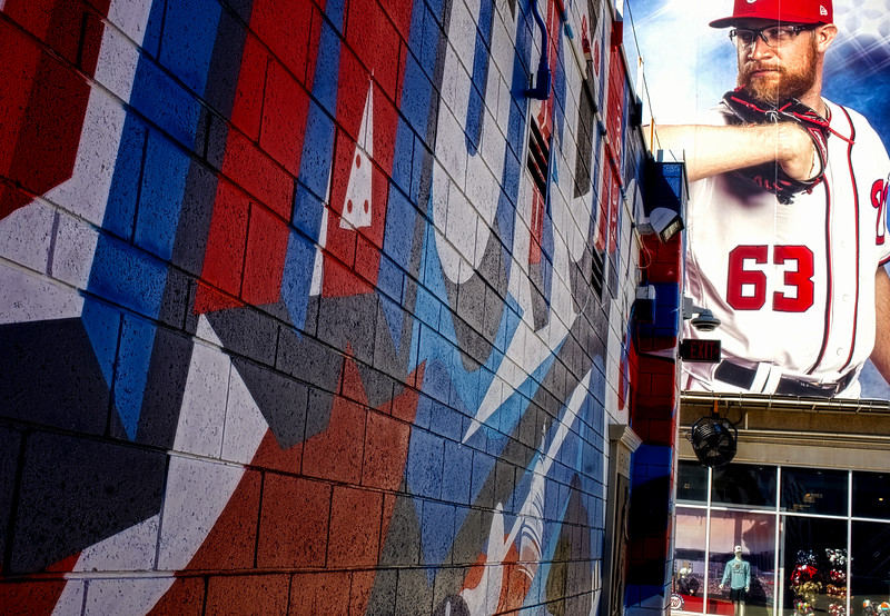 WASHINGTON, DC - SEPTEMBER 22:  Mural of Washington Nationals player Sean Doolittle during a MLB game between the Washington Nationals and the Philadelphia Phillies on September 22, 2020, at Nationals Park, in Washington DC.