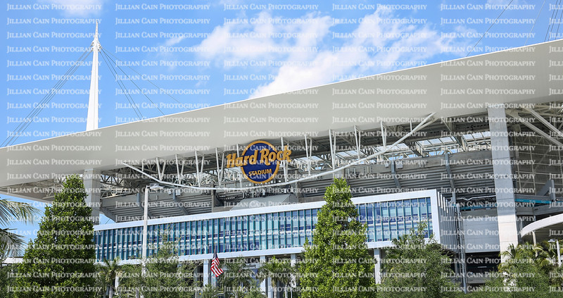 MIAMI GARDENS, FLORIDA, USA - MARCH:  Close up of the Hard Rock Stadium, the Hard Rock will be the venue for the 54th Super Bowl as seen on March 27, 2019.